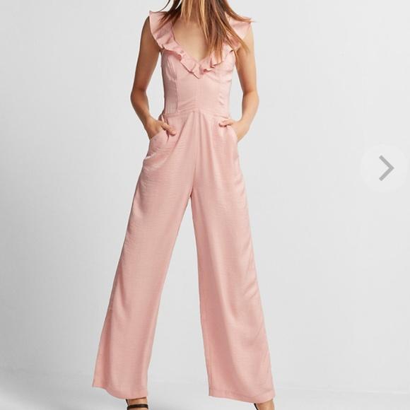 8428ed1abcbb Express Pants - V-Neck Wide Leg Ruffle Jumpsuit Rose Blush